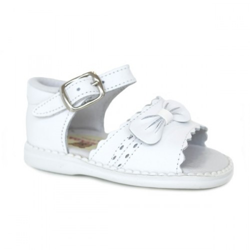Leather sandals for girls with bow