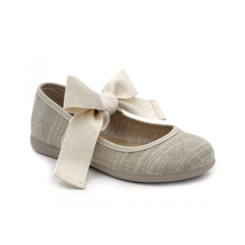 Linen mary jane bow Tokolate 1174-54
