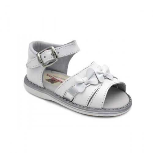 Sandalias de Piel para Niña con Lacitos, Blancas