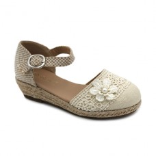 Flower linen espadrilles Bubble Kids 2932 Beige