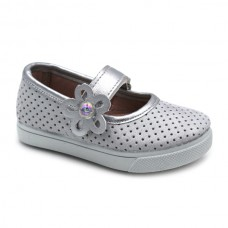 Silver velcro mary jane AN8406
