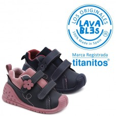Girls washable booties Titanitos L680 Navy