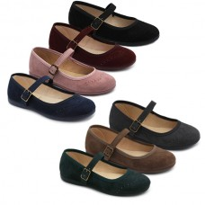 Faux suede mary jane Tokolate 1193-02